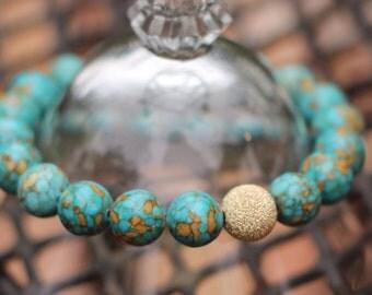 Blue Mosaic Turquoise Bracelet - Gold Mosaic Turquoise Bracelet - Gold Turquoise Bracelet - Gold Stardust Turquoise - Blue Stretchy Bracelet