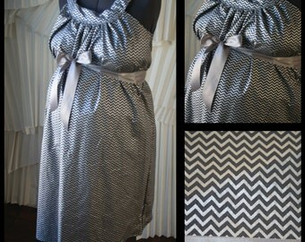 Maternity Hospital Gown- Metallic Silver and Dark Gray Chevron (labor and delivery gown)