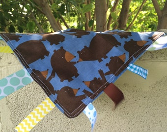 SALE Brown Bears Tag Blanket  with your choice of Minky // In Stock, Ready to Ship
