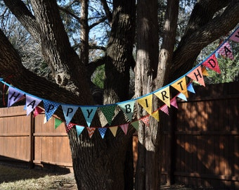 Happy Birthday fabric banner bunting, Spring Rainbow, birthday party decoration, photo prop