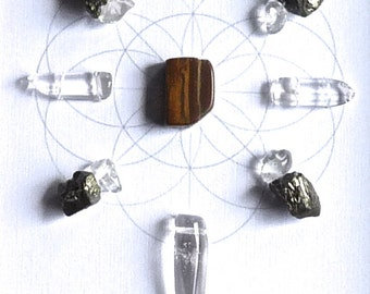 INSPIRED ACTION --- framed crystal grid with sacred geometry