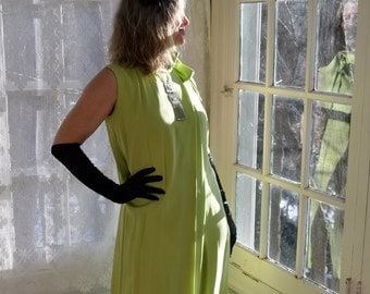Lime Green Silk Palazzo Pantsuit/Vintage 1970s/Luxe Split Skirt Formal Dress/Size Medium