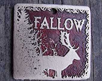 Fallow Deer Pet Tag, Dog ID Tag, Dog Tag - 1.25 inch Square