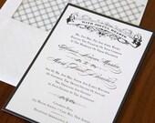 Unique Wedding Invitation Suite - Wedding Invitation, Wedding Invites - Vintage Black - Vintage Formal - Sample