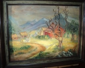 Vintage Rustic Primitive Art Work signed by The Artist N. Bell of a man GONE FISHIN' near his home in the valley of some mountains