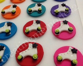 Edible Circle ROLLER SKATE TOPPERS - fondant paint Circle Roller Skate Toppers For cupcakes, cakes and cookies. Birthdays, weddings, showers