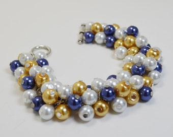 Navy, Yellow and white pearl bracelet, cluster bracelet, chunky bracelet, White Pearl bracelet, navy and yellow wedding, white pearl jewelry