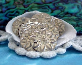 Coins, Coin Charms, Antique Silver Coin Stampings, Antique Silver Coins, Belly Dancing Coins, Flower Charms, Coin Stampings  MB-059