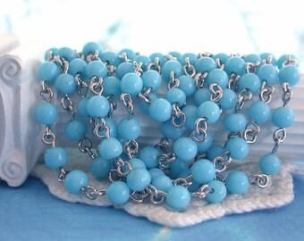 Rosary Chain, Beaded Chain, Turquoise Bead Chain, Chain, Bead Chain, Jewelry Chain, Glass Bead Chain CHN-094