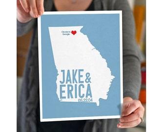 Georgia Wedding Gift - Personalized State and Heart - Custom Wedding Date - Location City and State Modern Art Print - 8x10 : Atlanta
