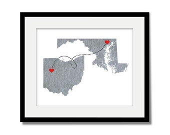 Two States Love Connection Art Print - Wedding Gift  - Personalized State Heart Natural Series - Custom Location Modern Art Print  Distance
