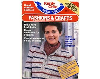 Vintage 1980s sweater patterns, Family Circle Great Ideas, knit fashions, knitting crafts, knit yarn, fiber arts, vest, children, men, women