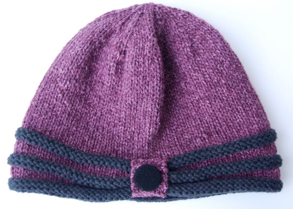 Knitting Pattern Hat With Button : Knitted purple beanie knit hat with button by LoopsAndLines