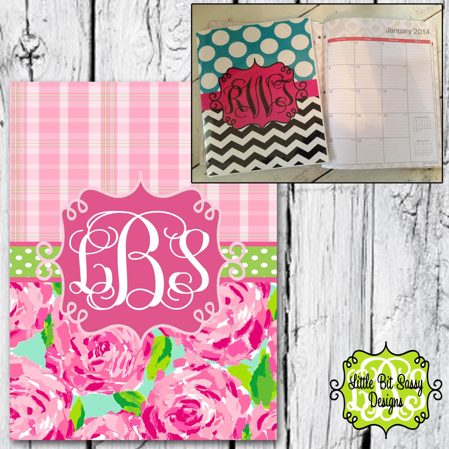 Monogrammed Floor Mats >> Personalized Planner Monthly Calendar Monogrammed Lilly