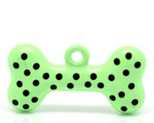 SALE Dog Bones Green with Black Dots Charms 24x12mm 5 pcs - Ships IMMEDIATELY from California - E89