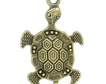 Bronze Turtle Charms Antique Sea Turtle Pendants - 44x28mm - 3pcs  - Ships IMMEDIATELY from California - BC667