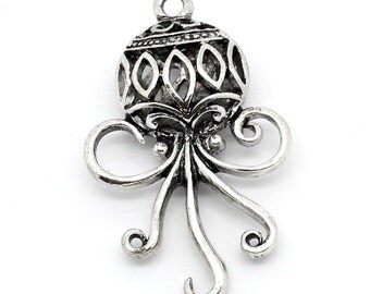SALE 10 WHOLESALE Christmas Pendants - Antique Silver - Fancy Christmas Ornament - 39x24mm - Ships IMMEDIATELY from California - SC1034a