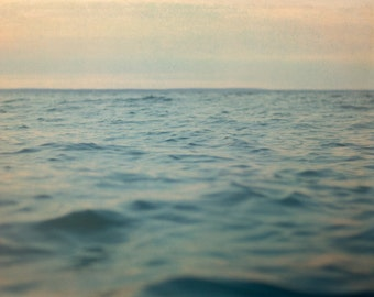 Lake Photograph, 16x20 Photography, Blue Ocean Picture, Gray Home Decor, Water Wall Art