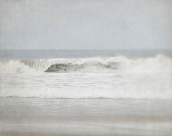Grey Photography, White Wall Decor, Ocean Photograph, Wave Picture, Coastal Picture, Living Room Artwork, 30x40 Print