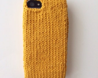 Mustard yellow knit phone sweater case for iPhone