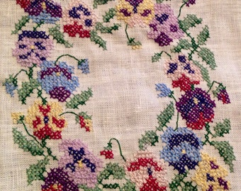 Sweet Completed Cross Stitch-Pansy Wreath on Linen