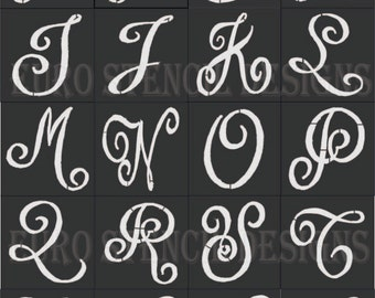 Euro Stencil Designs Chalk Board Hand Lettered Style Capital Alphabet 28 small stencils for burlap crafts, painting and signs