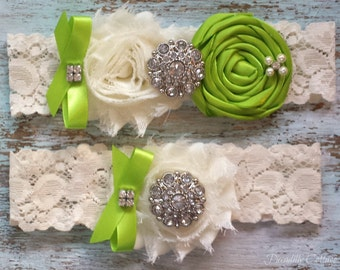 Green Wedding Garter, Wedding Garter, Wedding Garter Set, Bridal Garter, Lace Garter, Custom Garter, Toss Garter Included