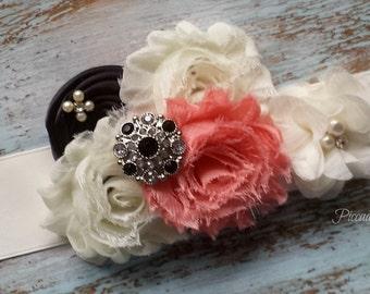 CORAL and Black Bridal Sash, Flower Girl Sash, Maternity Sash, Bridesmaid Sash, Bridal Belt, Satin Bridal Sash, Custom Sash