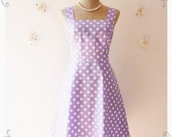 Pastel Purple Dress Vintage Inspired Dress Vintage Purple Bridesmaid Dress Purple Party Dress Lilac Dress Polka Dot Dress- XS-XL, Custom