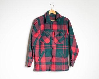 Classic Red & Green Plaid Wool Field Jacket
