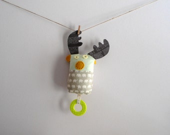 Modern fabric plush toy/teether buddy/sensory toy/stuffed toy,Rudy Reindeer with teething ring, light grey/light green,Shower gift idea