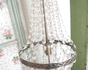 SOLD   RESERVED Layaway  Vintage    chandelier crystals   shabby chic prairie cottage chic