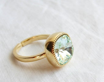 Cocktail Ring. Swarovski Cushion Cut Chrysolite Solitaire Gold Ring. Adjustable Ring. Gift fo Her. Jewelry under 25. Simple Modern Jewelry
