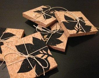 Botanical Leaf - Cork Coaster - Hand Printed