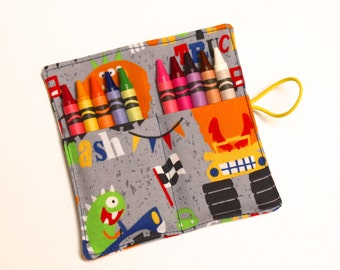 Monster Trucks Crayon Roll Party Favors, holds up to 10 Crayons, Party Favors