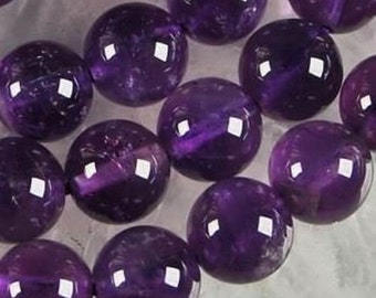 """Glass beads, purple, round, smooth, amethyst color, 8mm/0.3149"""", 10 pcs"""