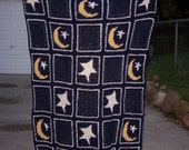 PATTERN - Larissa Stars and Moon Afghan - Original Design - Deep Blue with Gold Moon and White Stars