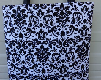 Reversible Tote Bag:Damask Black
