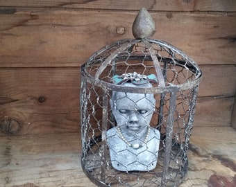 Spooky creepy halloweeen decor OOAK Art doll embellished with flowers and pearls sitting in rustic cage
