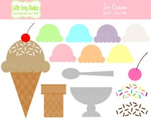 50% OFF Ice Cream Digital Clipart - Ice Cream Scoop Graphics - Build Your Own Ice Cream Cone - Commercial Use