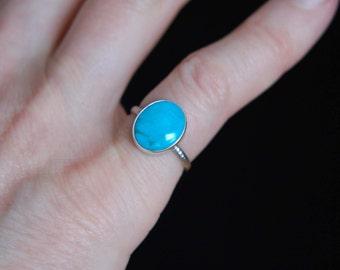 Turquoise Ring Artisan Ring Handmade 925 Silver Ring Bezel Set Ring Southwestern Jewelry Turquoise Jewelry
