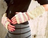 Long Knit Gloves Womens Arm Warmers Striped Fingerless Glove White Winter Acccessories Ladies Knitted Gifts Handmade Accessory Pink