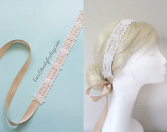 Ivory  Beaded Lace on Champagne Ribbon Sash, Bridal Sash , Bridesmaid Sash, Head tie, Headband // SH-78
