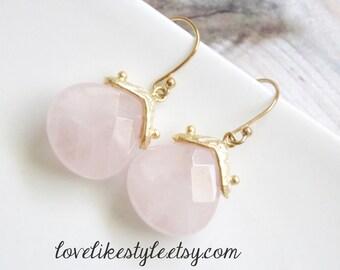Pale Pink Small Tear Drop Stone  Earrings, Bridal Pink Earrings, Bridesmaid Pink Earrings.