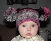 3 Pom pom pigtail hats