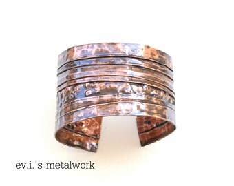 Black Striped Folded Wide Bracelet Cuff Copper Hammered Oxidized Band Bangle Boho Hippie Ethnic