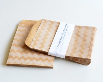 50 Chevron Patterned Kraft Paper Bags for decorate, party favors, and many more Size 4 x 5 3/8""