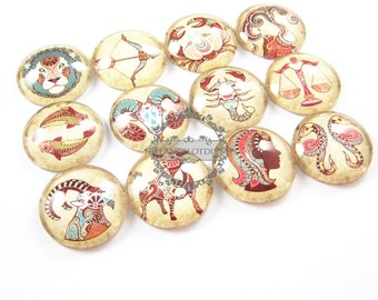 25mm vintage style 12 Horoscope constellation collage pattern round glass cabochon DIY supplies findings 4110054