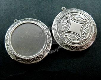 5pcs 30mm setting size round vintage brass antiqued silver photo locket pendant 1113003
