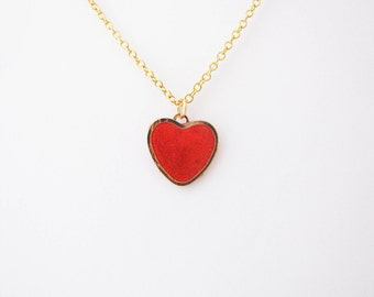 Red heart  necklace. Love necklace. Minimalistic necklace. Valentines day